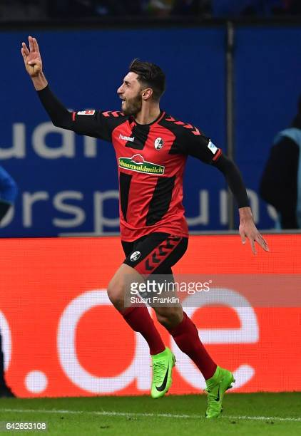 Vicenzo Grifo of Freiburg celebrates scoring the second goal during the Bundesliga match between Hamburger SV and SC Freiburg at Volksparkstadion on...