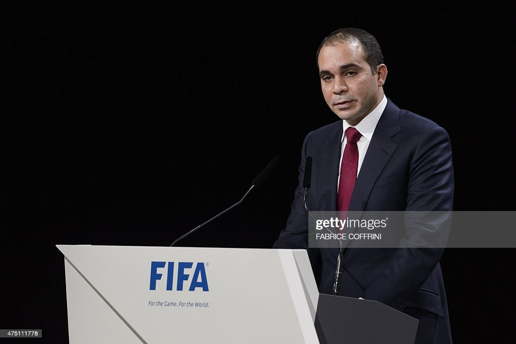 FIFA vicepresident and contender for the role of FIFA President Prince Ali bin al Hussein delivers his speech ahead of the vote to decide on the FIFA...