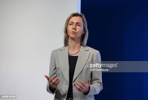 Vicepresident and head of finance and commerce products on Googles Next Billion Users team Diana Layfield speaks during the launch of the Google...