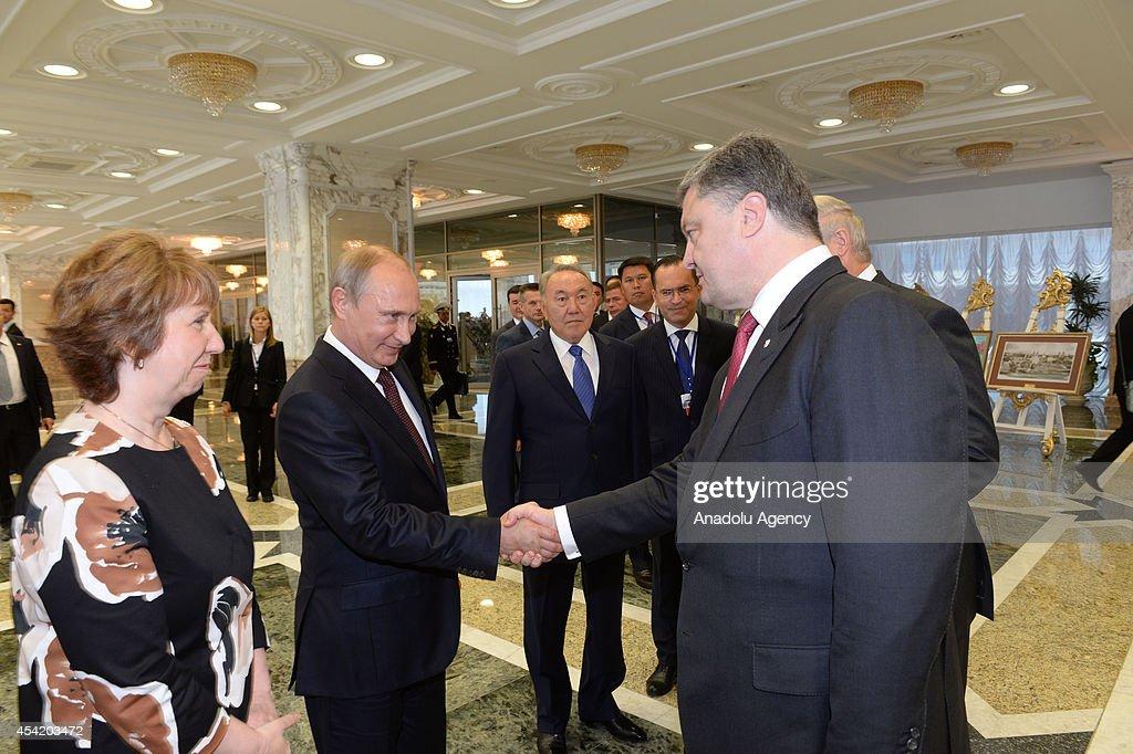 EU VicePresident Catherine Ashton Russian President Vladimir Putin Kazakh President Nursultan Nazarbayev and Ukrainian President Petro Poroshenko...