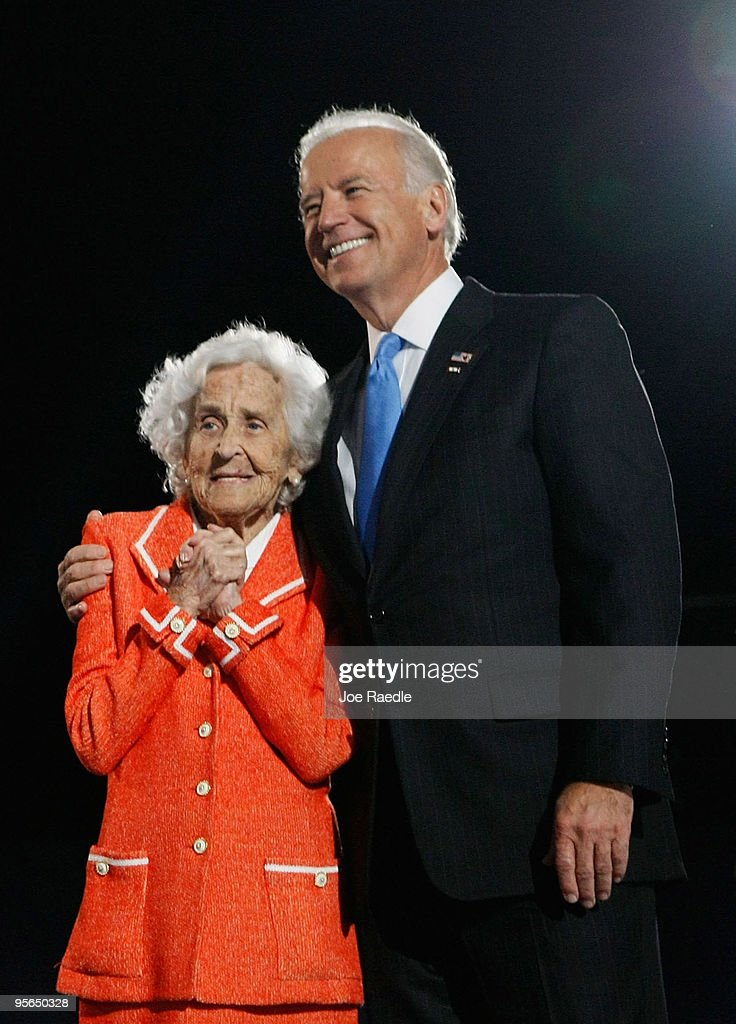 U.S. Vice-President elect Joe Biden stands with his mother Jean during an election night gathering in Grant Park on November 4, 2008 in Chicago, Illinois.