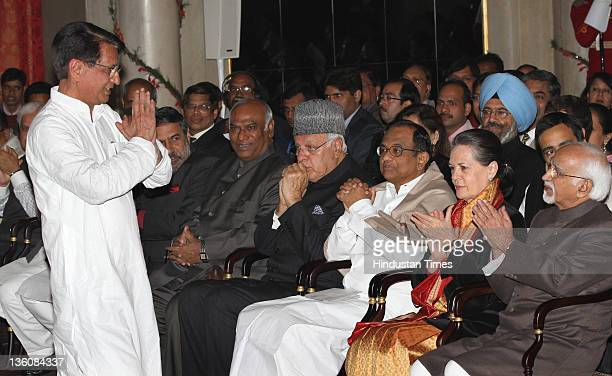 VicePresident Hamid Ansari UPA Chairperson Sonia Gandhi Union Home Minister P Chidambaram and Farooq Abdullah with new Cabinet Minister Ajit Singh...