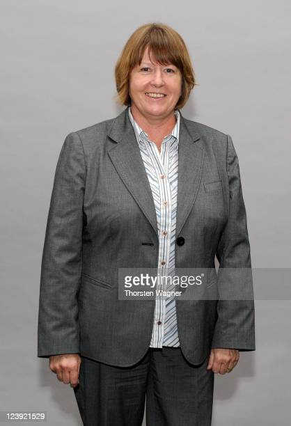 Vicepresident Hannelore Ratzeburg poses during the DFB coach meeting at Headquarter of German Football Association on August 26 2011 in Frankfurt am...