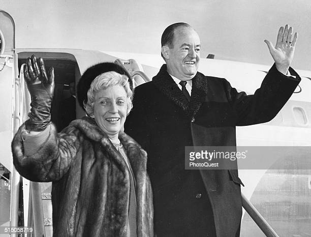 VicePresident Hubert H Humphrey and his wife Muriel wave as they depart from a Asian trip Washington DC January 3 1966