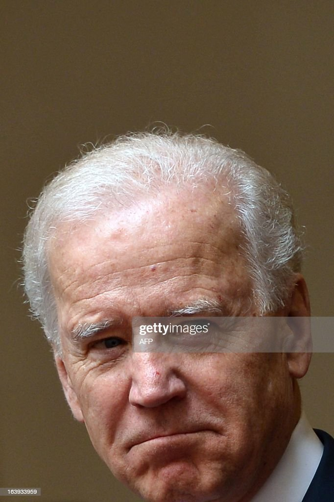 US Vice-President Joe Biden arrives at Palazzo Chigi for a meeting with outgoing Prime Minister in Rome on March 18, 2013. Joe Biden arrived in Rome to attend Pope Francis's inauguration mass tomorrow.