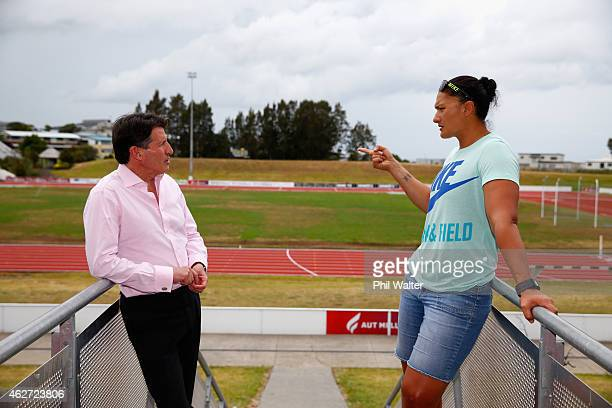 IAAF vicePresident Lord Sebastian Coe meets with Olympian Valerie Adams at the Millenium Institute on February 4 2015 in Auckland New Zealand The...