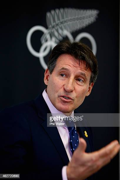 IAAF vicePresident Lord Sebastian Coe speaks to media during a press conference at Olympic House on February 4 2015 in Auckland New Zealand The...