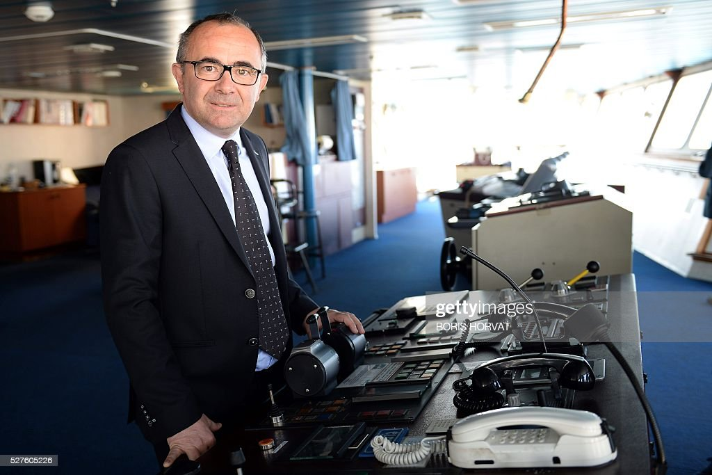 Vice-president of Corsica-Linea company Pierre-Antoine Villanova poses at the Jean Nicoli vessel's commander post on May 3, 2016 in Marseille, southern France, during the new mediteranean shipping line presentation. / AFP / BORIS
