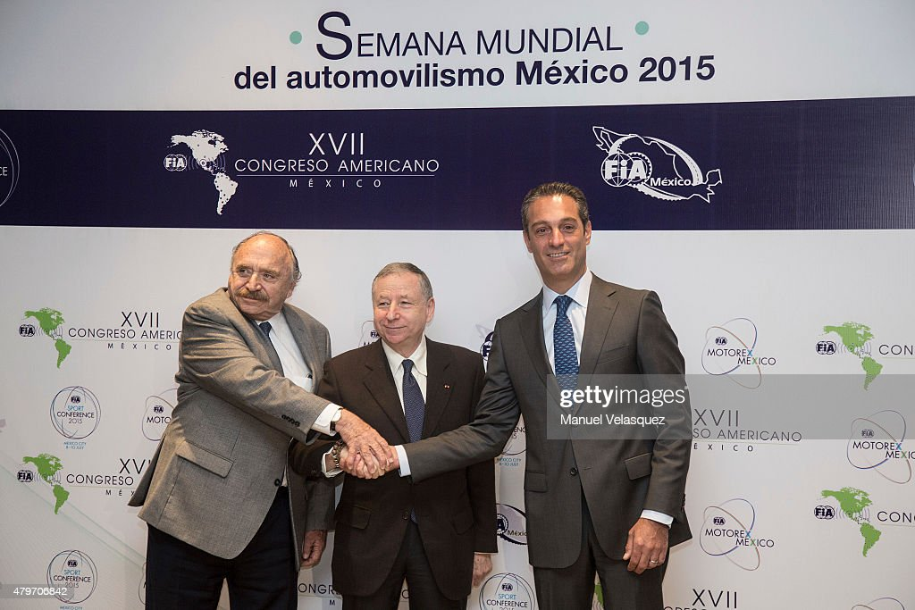Vicepresident of FIA Jose Abed (L), President of FIA <a gi-track='captionPersonalityLinkClicked' href=/galleries/search?phrase=Jean+Todt&family=editorial&specificpeople=206323 ng-click='$event.stopPropagation()'>Jean Todt</a> (C) and Founder of Escuderia Telmex Carlos Slim Domit (R) pose for pictures during the opening of the Mexico Automobile Week 2015 during the XVII Congreso Americano FIA 2015 at Hyatt Regency Mexico City on July 06, 2015 in Mexico City, Mexico.