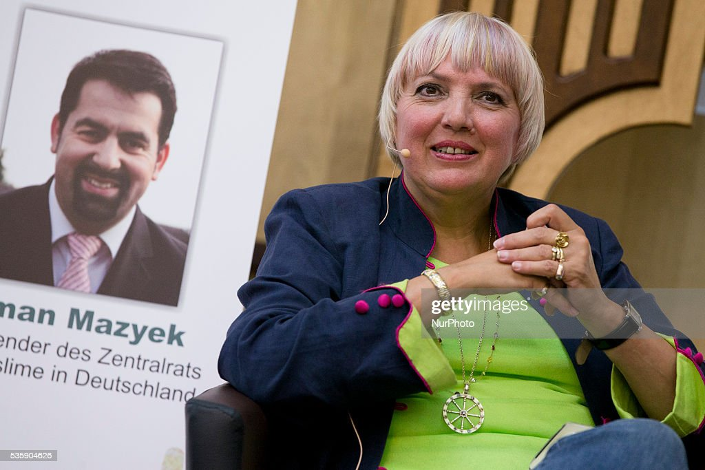 Vice-President of German Bundestag <a gi-track='captionPersonalityLinkClicked' href=/galleries/search?phrase=Claudia+Roth&family=editorial&specificpeople=235978 ng-click='$event.stopPropagation()'>Claudia Roth</a> (Buendnis 90/Die Gruenen) attends the event 'Toghether against racism' at the Dar Assalam mosque in Berlin on May 30, 2016.
