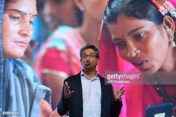 Vicepresident of Google for South East Asia and India Rajan Anandan speaks during the launch of the Google 'Tez' mobile app for digital payments in...