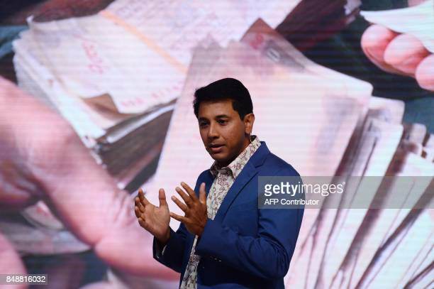 Vicepresident of Google's Next Billion Users Caesar Sengupta speaks during the launch of the Google 'Tez' mobile app for digital payments in New...