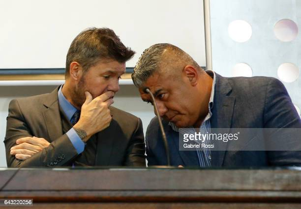 Vicepresident of San Lorenzo Marcelo Tinelli and Second Vicepresident of AFA Claudio Tapia talk during the broadcast proposals bid for Argentinian...