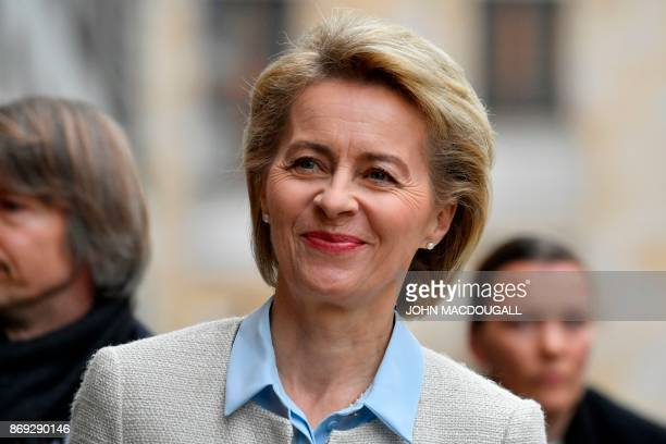 VicePresident of the Christian Democratic Union party and outgoing German Defence Minister Ursula von der Leyen arrives for exploratory talks with...