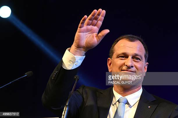 VicePresident of the French farright Front National party and regional councillor of the LanguedocRoussillon region Louis Aliot gestures during a...