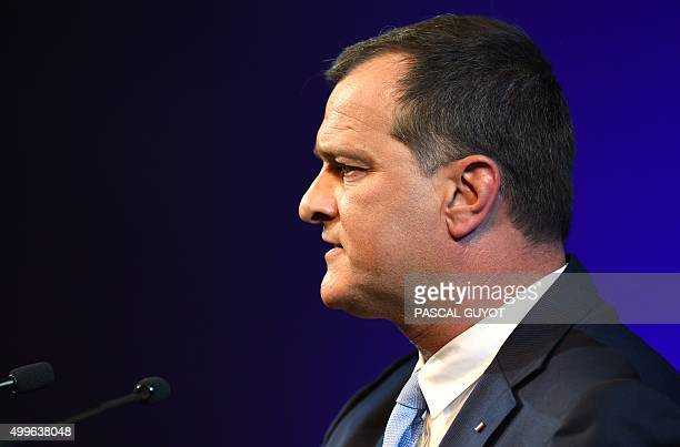 VicePresident of the French farright Front National party and regional councillor of the LanguedocRoussillon region Louis Aliot delivers a speech...