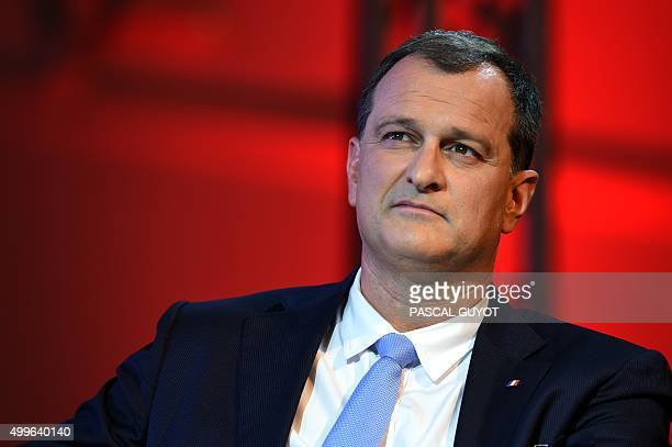 VicePresident of the French farright Front National party and regional councillor of the LanguedocRoussillon region Louis Aliot attends a campaign...