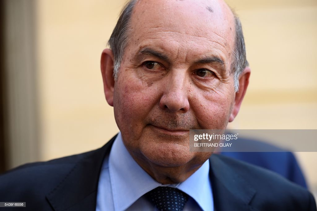 Vice-president of the Union Professionnelle Artisanale (professional craft union) UPA, Pierre Martin is pictured within a meeting with the French Prime Minister and the French Labour Minister on June 30, 2016 at the Hotel Matignon in Paris. French President Francois Hollande said last week that his Socialist government would 'go all the way' to enact the labour reforms, which are seen by critics as too pro-business and a threat to cherished workers' rights. / AFP / BERTRAND
