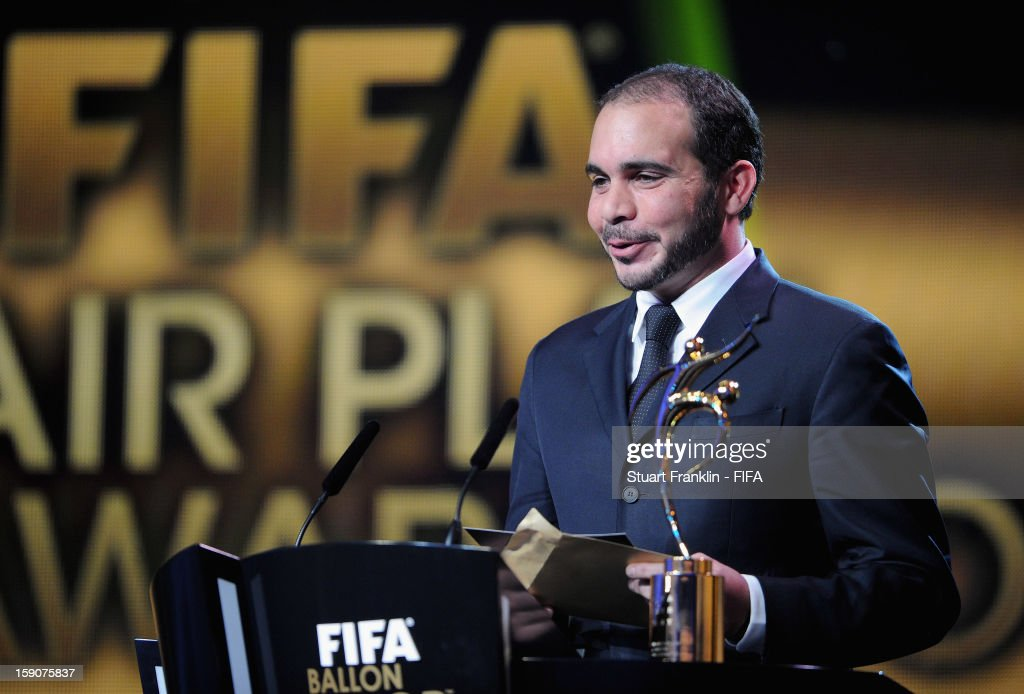 Vice-President Prince Ali Bin Al-Hussein presenting the FIFA Fair Play Award during the FIFA Ballon d'Or Gala 2012 at the Kongresshaus on January 7, 2013 in Zurich, Switzerland.