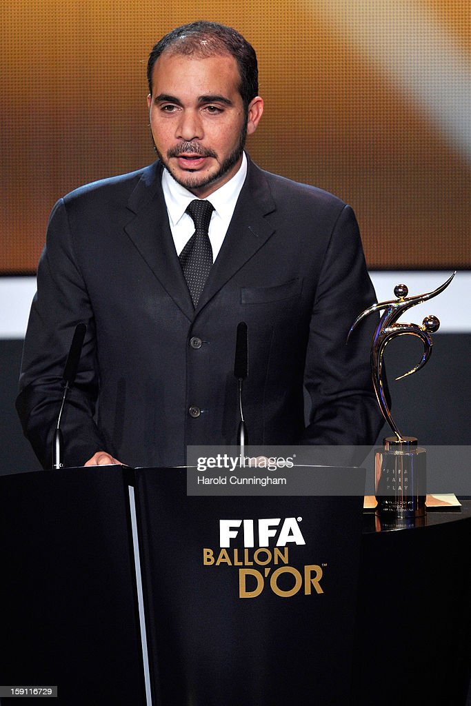 Vice-President Prince Ali Bin Al-Hussein presents the FIFA Fair Play Award during the FIFA Ballon d'Or Gala 2013 at Congress House on January 7, 2013 in Zurich, Switzerland.