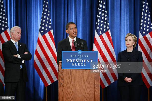 VicePresidentelect Joe Biden listens as Presidentelect Barack Obama introduces members of his National Security Team including Senator Hillary...