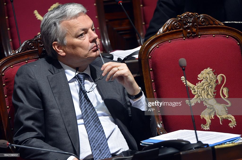 Vice-Prime Minister and Foreign Minister Didier Reynders (MR French-speaking liberals) attends a plenary session of the Chamber at the federal parliament in Brussels on March 21, 2013. AFP PHOTO / BELGA - ERIC LALMAND