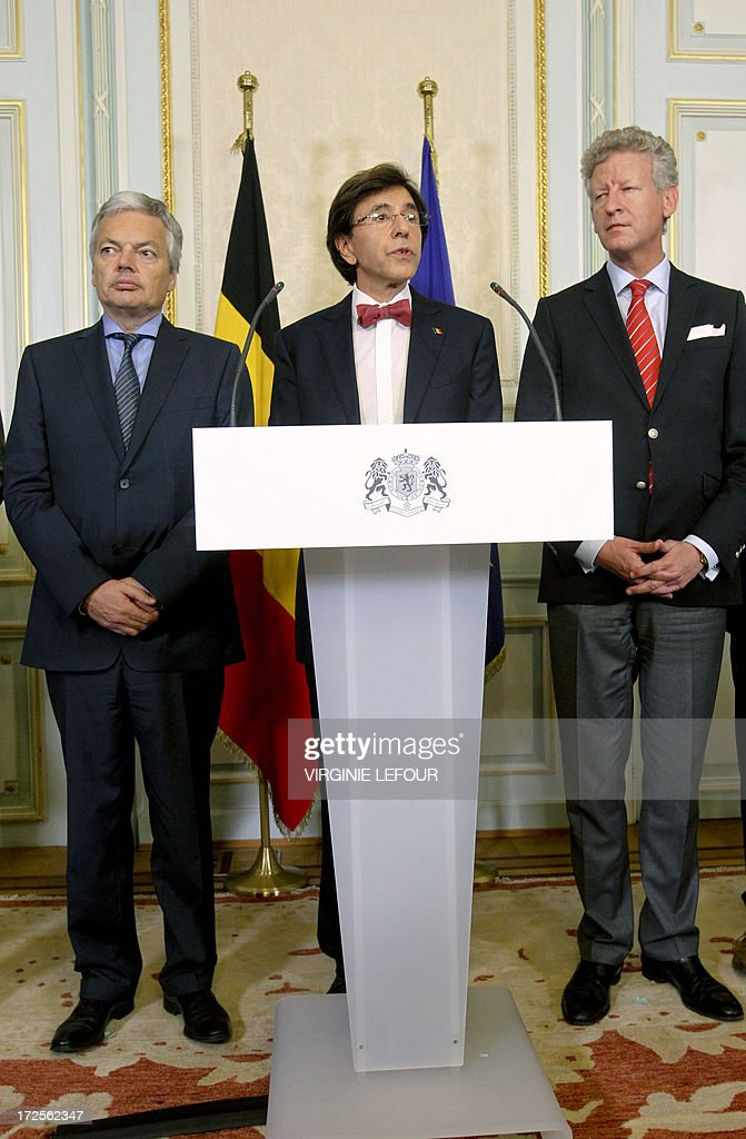 Vice-Prime Minister and Foreign Minister Didier Reynders (MR French-speaking liberals), Belgian Prime Minister Elio Di Rupo and Vice-Prime Minister and Defence Minister Pieter De Crem (CD&V Flemish christian democrats) attend a press conference after a Kern meeting, a restricted ministers meeting at the Prime Minister's office in Brussels, on July 3, 2013. Today King Albert II of Belgium announced to the Belgian people his abdiction from the throne on 21 July. LEFOUR