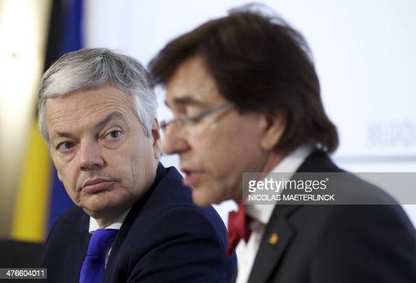VicePrime Minister and Foreign Minister Didier Reynders speaks alongside Belgium Prime Minister Elio Di Rupo during a press conference after a Kern...