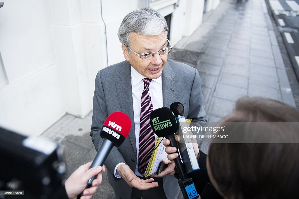 Vice-Prime Minister and Foreign Minister <a gi-track='captionPersonalityLinkClicked' href=/galleries/search?phrase=Didier+Reynders&family=editorial&specificpeople=548982 ng-click='$event.stopPropagation()'>Didier Reynders</a> talks to the press ahead of a Minister's council meeting of the federal government in Brussels, on March 19, 2015. AFP PHOTO/BELGA/LAURIE DIEFFEMBACQ
