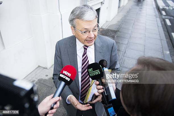 VicePrime Minister and Foreign Minister Didier Reynders talks to the press ahead of a Minister's council meeting of the federal government in...