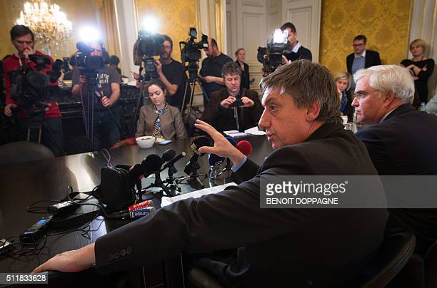 VicePrime Minister and Interior Minister Jan Jambon and WestFlanders province Governor Carl Decaluwe deliver a press conference on reintroduced...