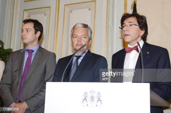 VicePrime Minister and Minister of Pensions Alexander De Croo VicePrime Minister and Foreign Minister Didier Reynders and Belgian Prime Minister Elio...