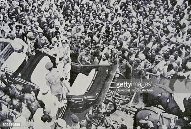 Viceroy of India lord Mountbatten with lady Mountbatten return to India after attending Pakistan's independence 1947