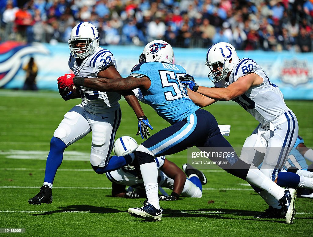 Vick Ballard #33 of the Indianapolis Colts carries the ball against <a gi-track='captionPersonalityLinkClicked' href=/galleries/search?phrase=Akeem+Ayers&family=editorial&specificpeople=5543453 ng-click='$event.stopPropagation()'>Akeem Ayers</a> #56 of the Tennessee Titans at LP Field on October 28, 2012 in Nashville, Tennessee.