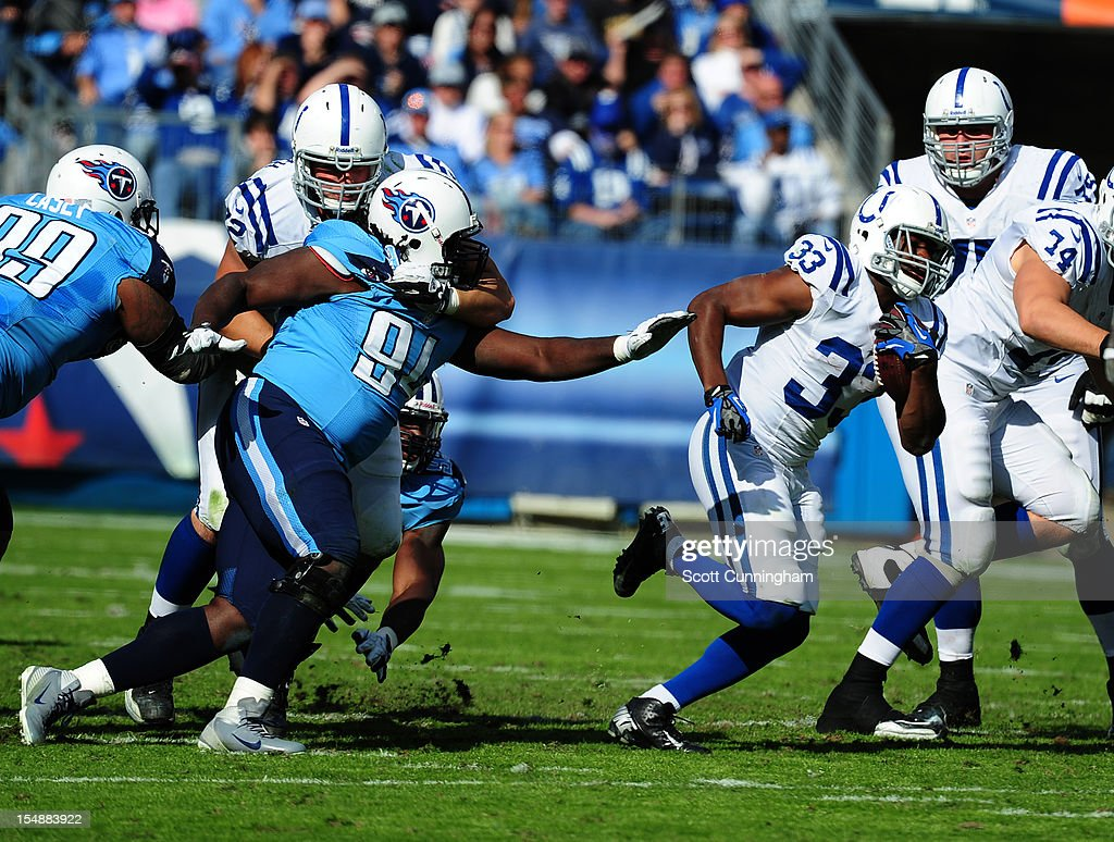 Vick Ballard #33 of the Indianapolis Colts carries the ball against the Tennessee Titans at LP Field on October 28, 2012 in Nashville, Tennessee.