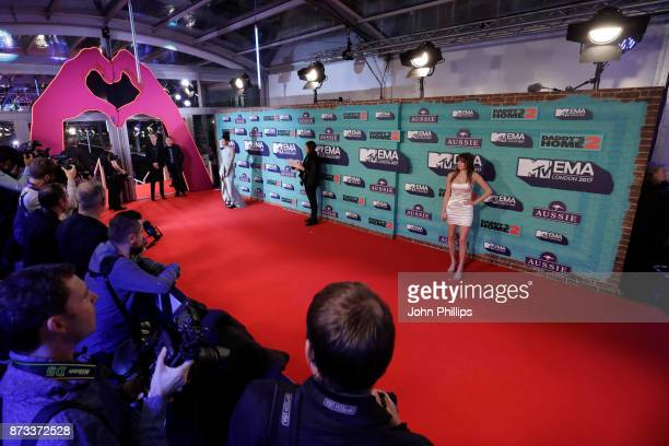 Vick Hope and Daya attend the MTV EMAs 2017 held at The SSE Arena Wembley on November 12 2017 in London England