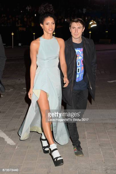 Vick Hope and guest attend the MTV EMAs 2017 held at The SSE Arena Wembley on November 12 2017 in London England