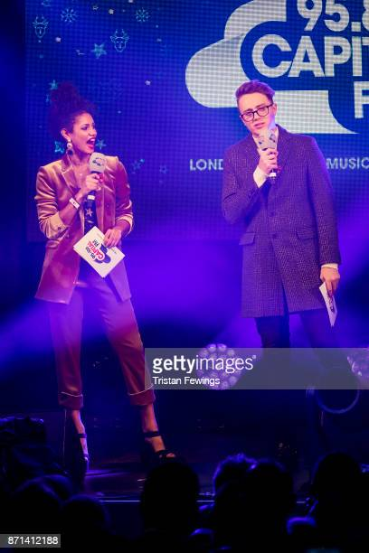 Vick Hope and Roman Kemp host the Oxford Street Christmas Lights Switch On at Oxford Street on November 7 2017 in London England