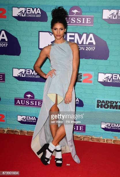 Vick Hope attending the MTV Europe Music Awards 2017 held at The SSE Arena London