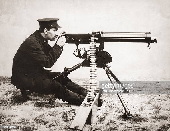 A Vickers machine gun on a tripod circa 1912