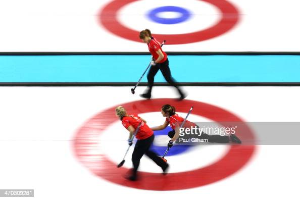 Vicki Adams of Great Britain releases the stone during the women's semifinal match between Great Britain and Canada at Ice Cube Curling Center on...
