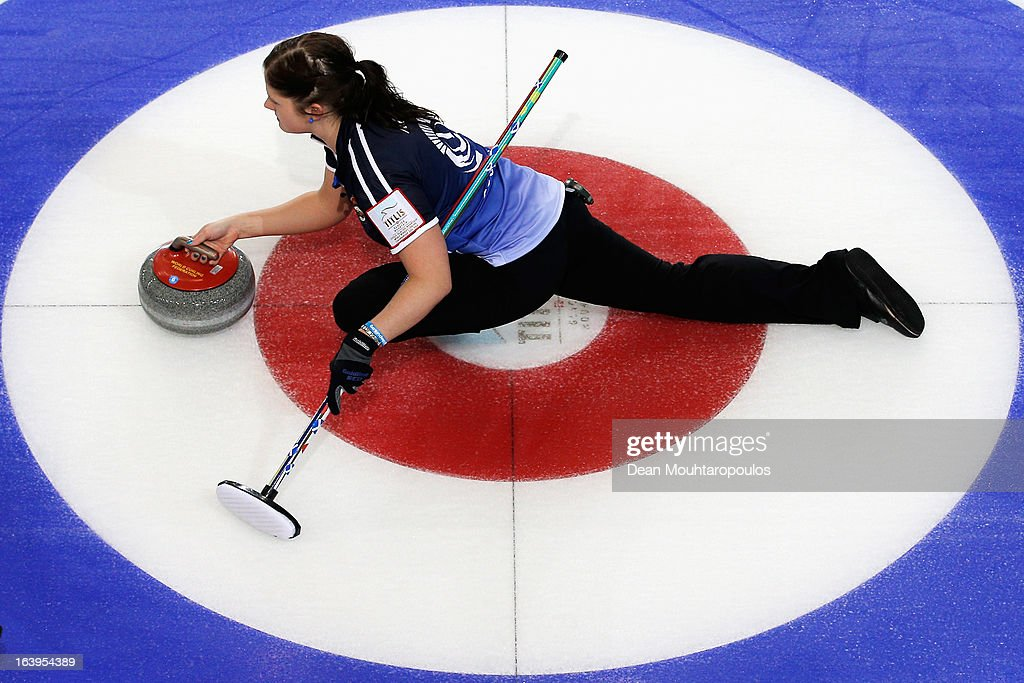 Vicki Adams of Scotland throws the stone in the match between Japan and Scotland during Day 3 of the Titlis Glacier Mountain World Women's Curling Championship at the Volvo Sports Centre on March 18, 2013 in Riga, Latvia.
