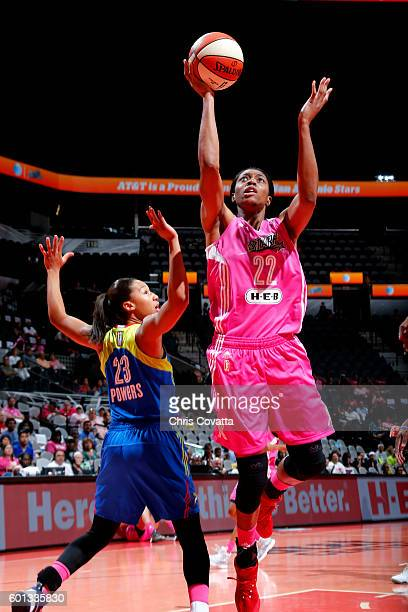 Vicki Baugh of the San Antonio Stars goes for the lay up during the game against the Dallas Wings during the WNBA game on September 9 2016 at the ATT...