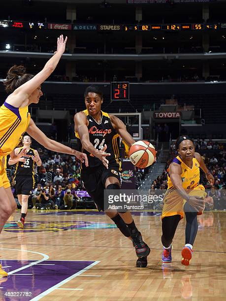 Vicki Baugh of the Tulsa Shock drives to the basket against the Los Angeles Sparks on August 6 2015 at Staples Center in Los Angeles California NOTE...
