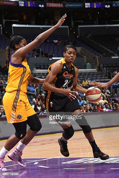 Vicki Baugh of the Tulsa Shock drives to the basket against the Los Angeles Sparks at Staples Center on August 06 2015 in Los Angeles California NOTE...