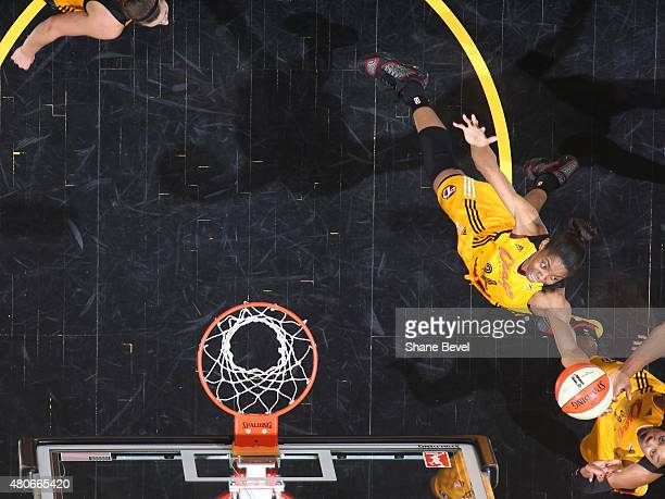 Vicki Baugh of the Tulsa Shock grabs a rebound against the Los Angeles Sparks on July 11 2015 at the BOK Center in Tulsa Oklahoma NOTE TO USER User...