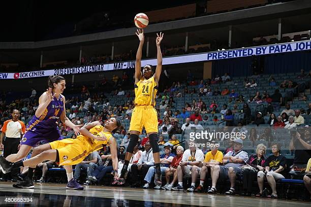 Vicki Baugh of the Tulsa Shock shoots against the Los Angeles Sparks on July 11 2015 at the BOK Center in Tulsa Oklahoma NOTE TO USER User expressly...