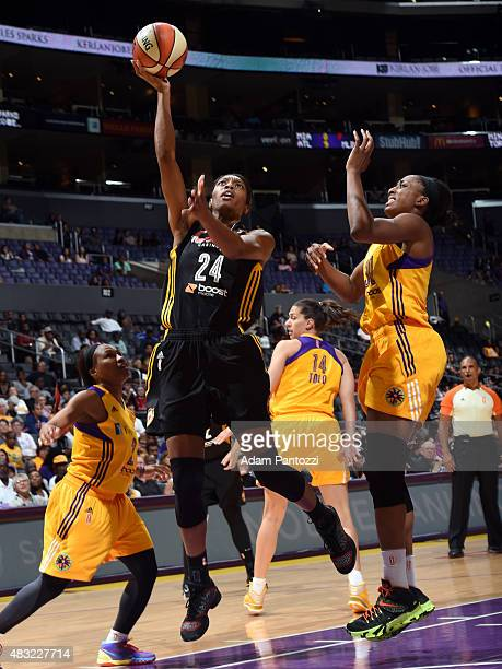 Vicki Baugh of the Tulsa Shock shoots the ball against the Los Angeles Sparks on August 6 2015 at Staples Center in Los Angeles California NOTE TO...