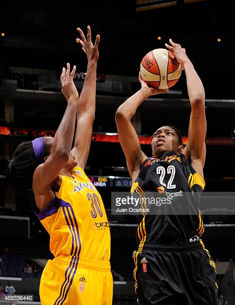 Vicki Baugh of the Tulsa Shock shoots the jumper against Nneka Ogwumike of the Los Angeles Sparks at STAPLES Center on August 5 2014 in Los Angeles...