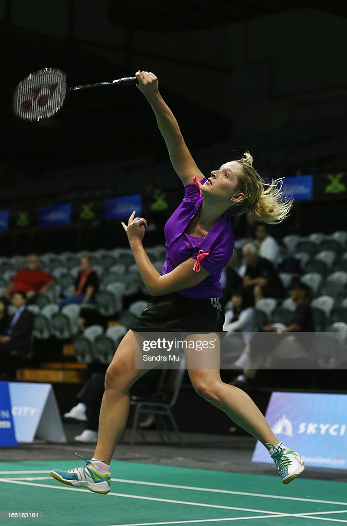 Vicki Copeland of New Zealand in action during qualifying for the New Zealand Badminton Open at North Shore Events Centre on April 10, 2013 in Auckland, New Zealand.